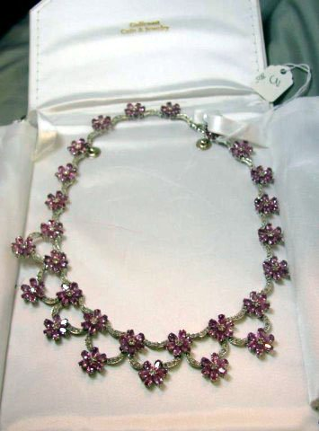 3: Lady's 14kwg pink sapphire/diamond necklace