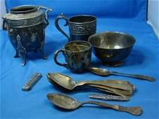 6: Lot of Silver Plate & Sterling Army Navy Spoon