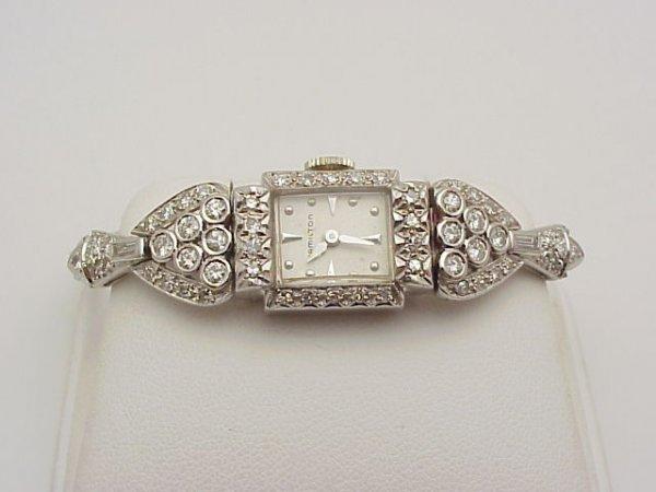 24: Lady's 14kwg Hamilton diamond watch