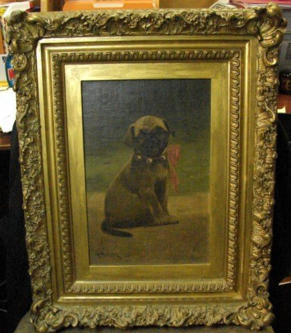 16: 1800's Oil Painting of a Pug by John Henry Dolph