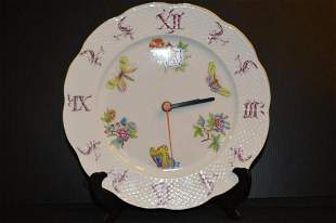 Herend Porcelain Hand Painted Wall Clock