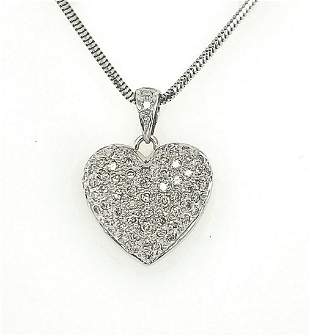 14kt white gold diamond heart pendant