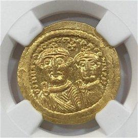 Byzantine Heraclius + Her. AV Solidus Gold NGC MS