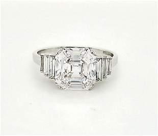 Platinum Art Deco Style Diamond Ring, 3.25ct.
