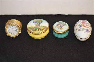 Group of Small Lidded Trinket Dishes & Brass Clock