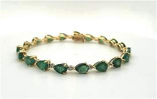 18kt yellow gold emerald and diamond bracelet