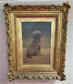 Signed Pug Dog Oil Painting by John Henry Dolph