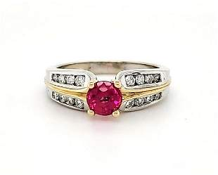 14kt two tone ruby and diamond ring