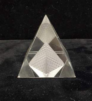 Etched quartz crystal pyramid
