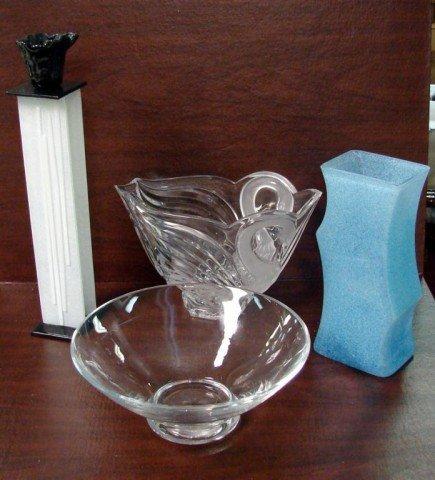 2: Box lot - Lenox tealite holder, crystal bowl +++