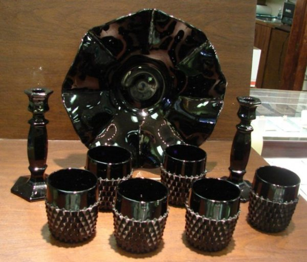 10: Black Ruffled Bowl, Goblets & Candleholders