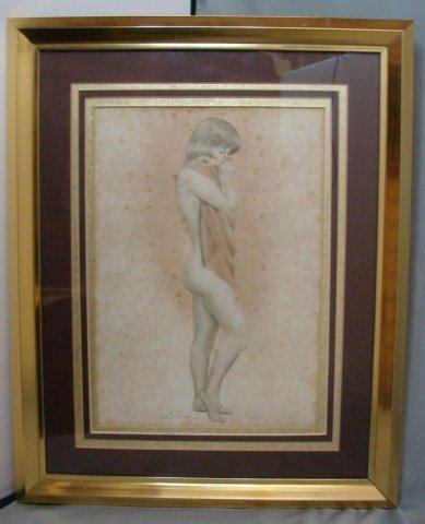 14: Framed & Matted DeSimone Print of a Nude