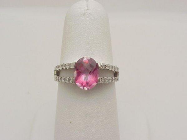 15: 14kwg pink topaz/diamond ring