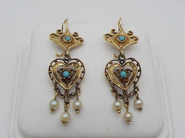 19: 14kyg Victorian filigree earrings with pearls