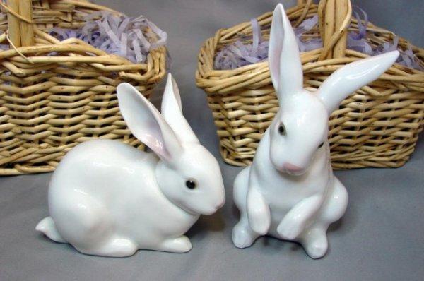 22: 2 Lladro Bunnies - Sitting Bunny & Attentive Bunny
