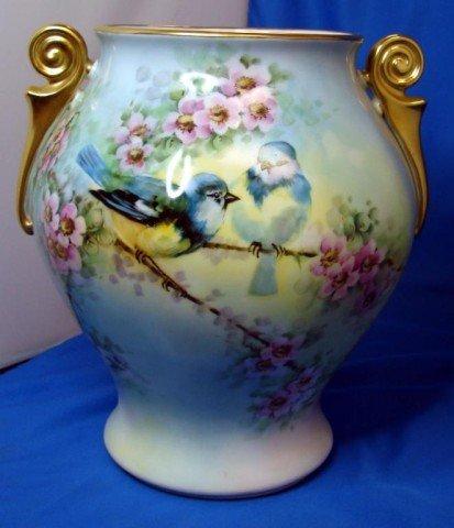 85: Hand painted Vase with Bluebird Epiag Czech.