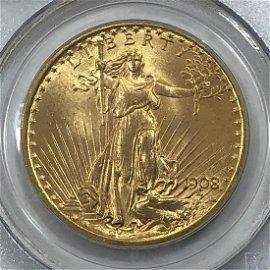 1908 $20 St. Gaudens Gold No Motto PCGS MS66