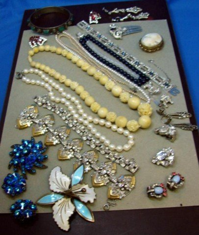 1: Lot of Costume Jewelry, some sterling & signed