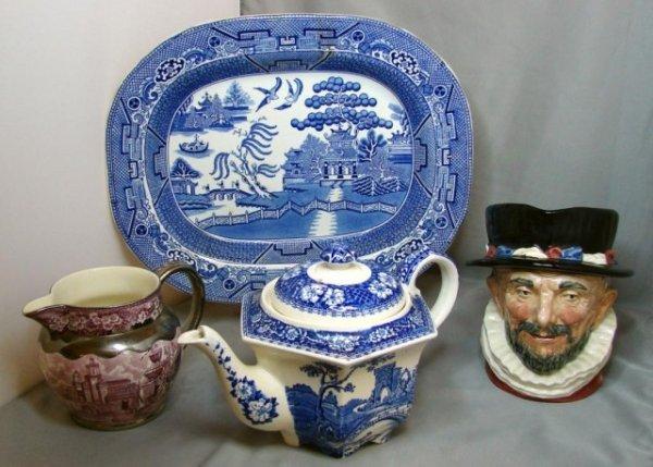 2: Blue Willow Platter, Royal Doulton Toby, Stadler