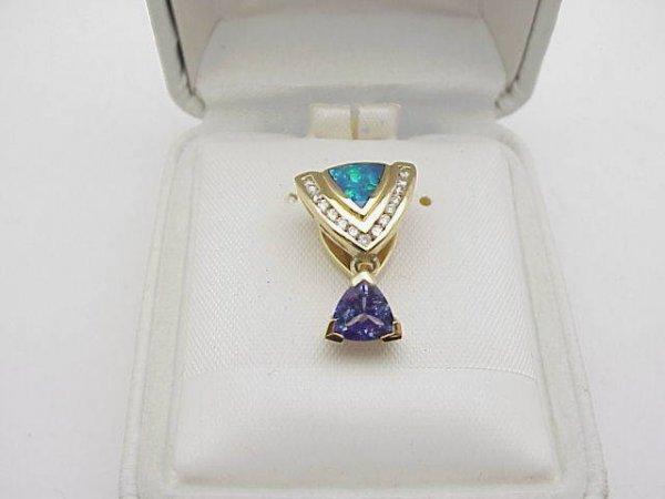 19: 14kyg opal/tanzanite/diamond pendant