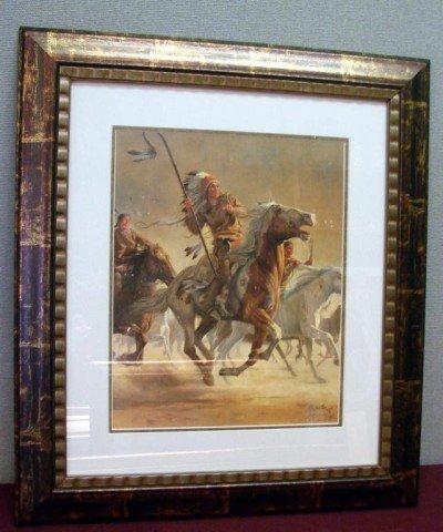 23: Framed Kuntsler Indian on Horseback Print Ltd. Ed.
