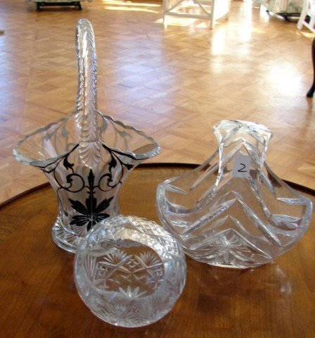2: 3 Crystal Handled Baskets, one with silver overlay