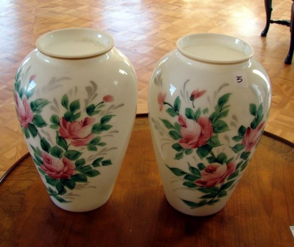 5: Pair of  White Vases with Hand Painted Rose Blooms