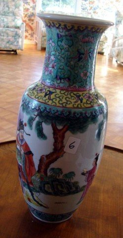6: Porcelain Hand Painted Chinese Vase Floor