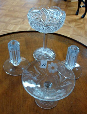 11: Assorted lot of crystal incl. Footed Compote