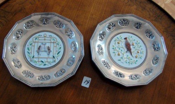 14: 2 Gorham Sterling Silver Plates Porcelain Centers