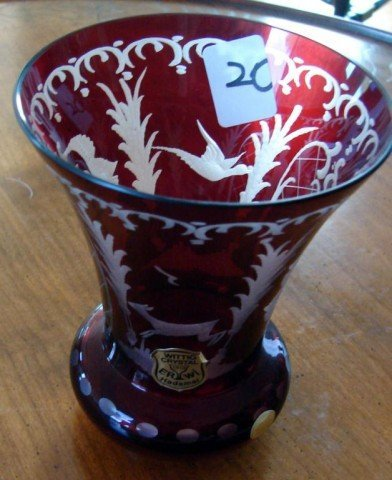 20: Small Cranberry cut to clear vase
