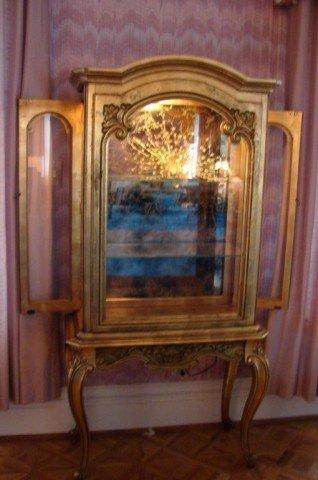 217: Louis XV Style Gold Leaf Vitrine