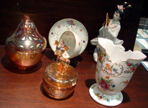 8: Carnival Glass Pear & Covered Dish, Noritake vase