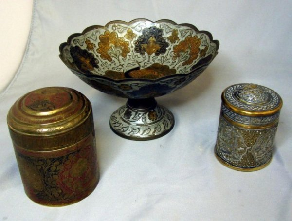 9: 2 Antique Brass Covered Boxes & Footed Dish