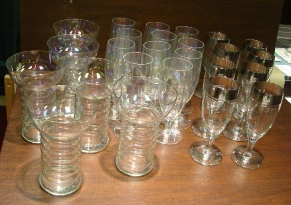 85: Lot of 25 Vintage Glasses - Iridescent Stemware