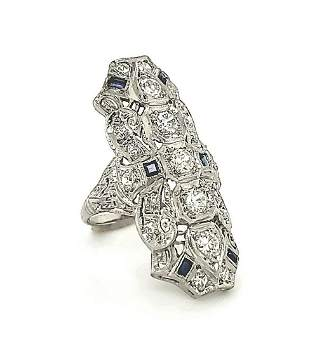 Vintage platinum diamond and sapphire ring