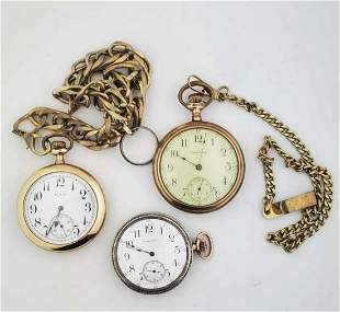 Lot of three gold plated pocket watches