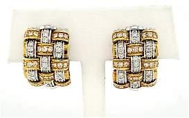 18kt two tone Roberto Coin diamond earrings