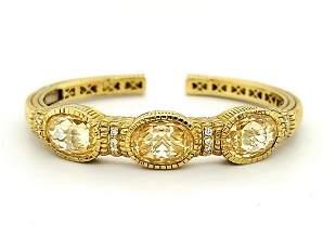 18kt yellow gold Judith Ripka bangle bracelet