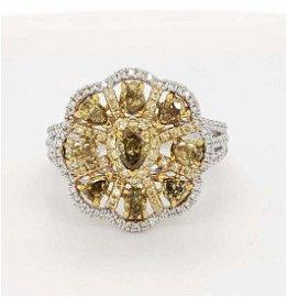 14kt two tone fancy yellow diamond ring