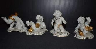 Vintage Porcelain White Cherub Figurines Gold Gilt
