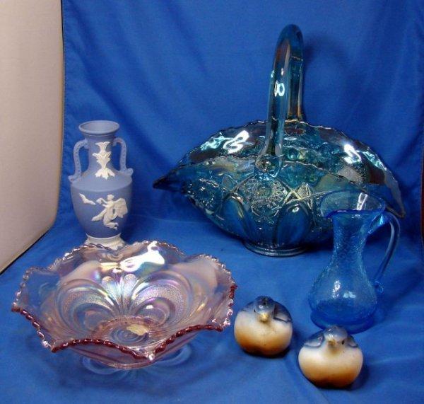 1: Blue Glass Handled Basket, crackle pitcher, etc.