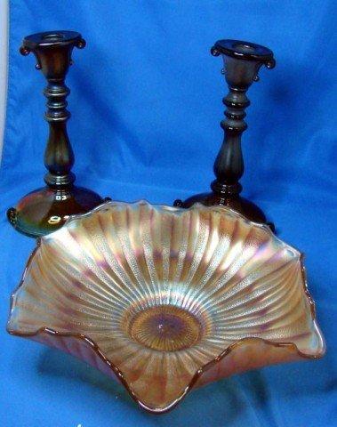 2: Pair of Amberina Candlesticks & Carnival Glass Bowl
