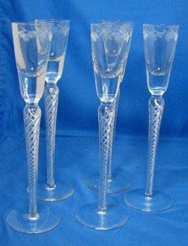 7: 5 Tall Stemmed Crystal Cordial Glasses