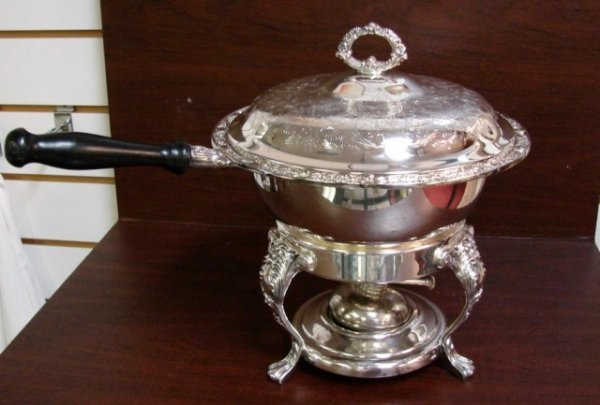 9: Ornate Silver Plate Chafing Dish