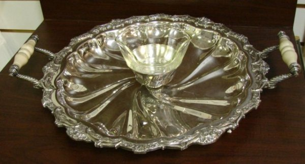 14: Ornate Silverplate Serving Tray with Glass Bowl