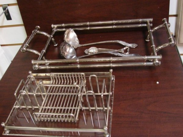 18: Silver Plate Chafing Dish Holder, 2 ladles, opener
