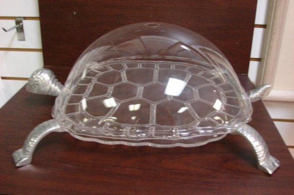 23: Acrylic Covered Pewter Turtle Serving Dish
