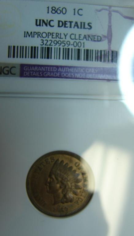 2: 1860 Indian Cent  NGC Unc Details
