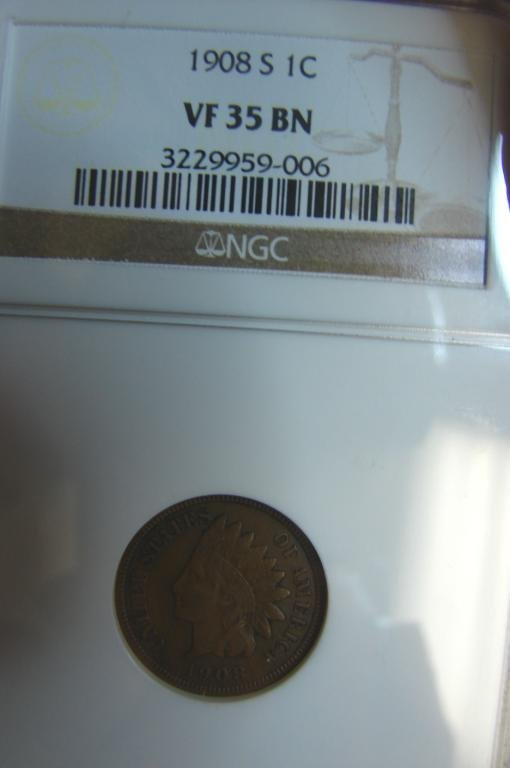 3: 1908S Indian Cent NGC VF 35 BN